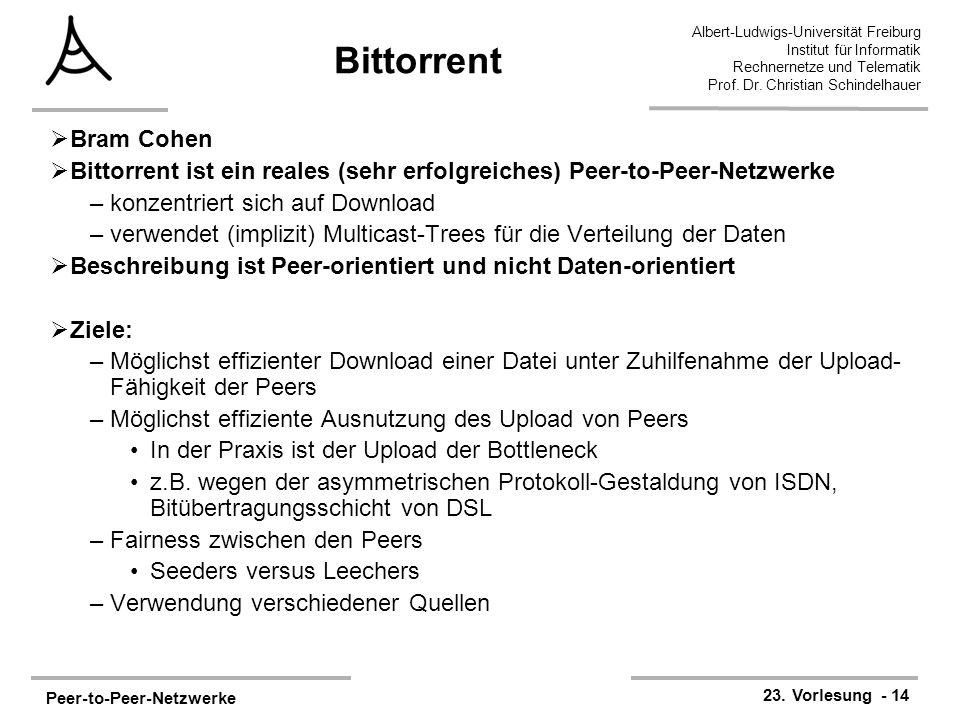 Peer-to-Peer-Netzwerke 23. Vorlesung - 14 Albert-Ludwigs-Universität Freiburg Institut für Informatik Rechnernetze und Telematik Prof. Dr. Christian S