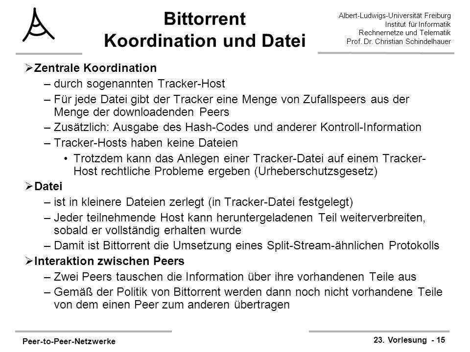 Peer-to-Peer-Netzwerke 23. Vorlesung - 15 Albert-Ludwigs-Universität Freiburg Institut für Informatik Rechnernetze und Telematik Prof. Dr. Christian S