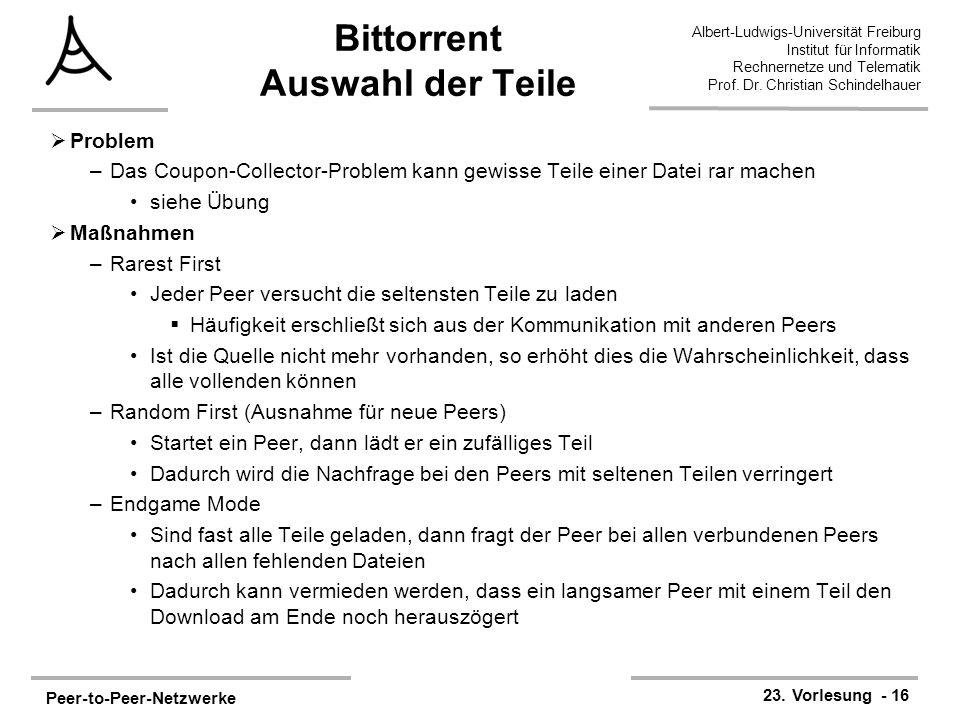 Peer-to-Peer-Netzwerke 23. Vorlesung - 16 Albert-Ludwigs-Universität Freiburg Institut für Informatik Rechnernetze und Telematik Prof. Dr. Christian S