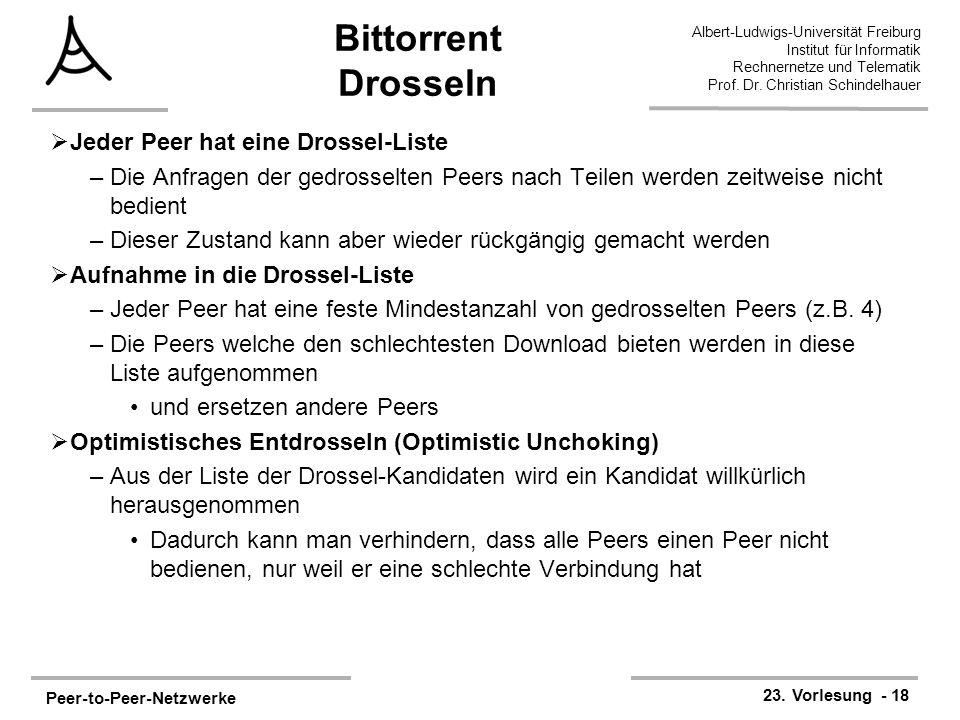 Peer-to-Peer-Netzwerke 23. Vorlesung - 18 Albert-Ludwigs-Universität Freiburg Institut für Informatik Rechnernetze und Telematik Prof. Dr. Christian S