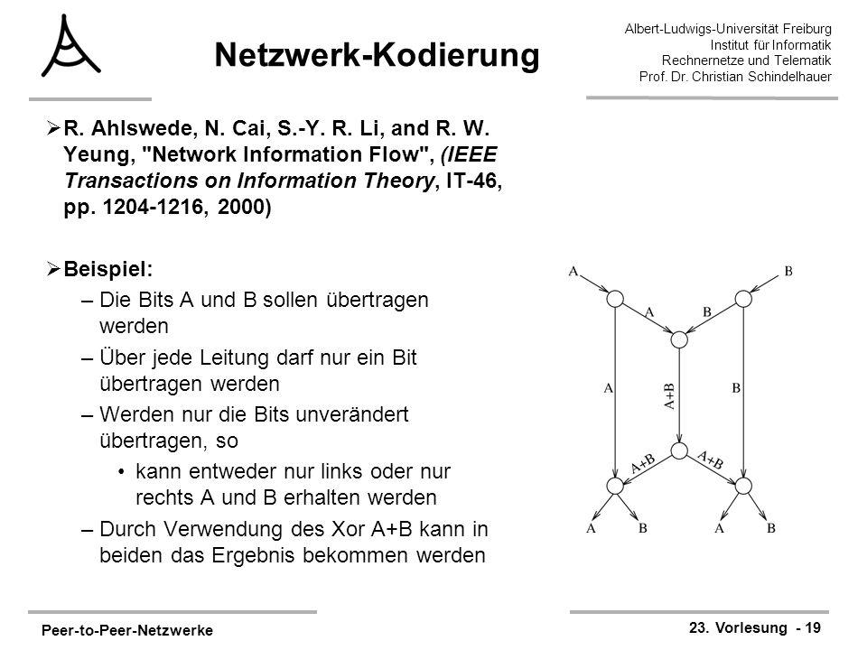 Peer-to-Peer-Netzwerke 23. Vorlesung - 19 Albert-Ludwigs-Universität Freiburg Institut für Informatik Rechnernetze und Telematik Prof. Dr. Christian S