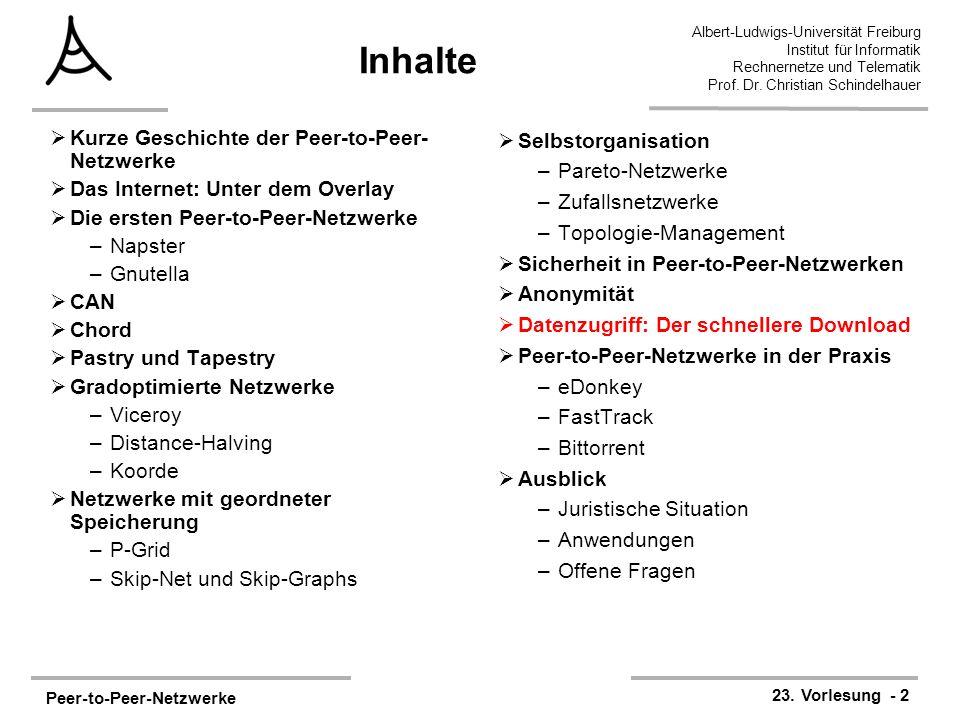Peer-to-Peer-Netzwerke 23. Vorlesung - 2 Albert-Ludwigs-Universität Freiburg Institut für Informatik Rechnernetze und Telematik Prof. Dr. Christian Sc