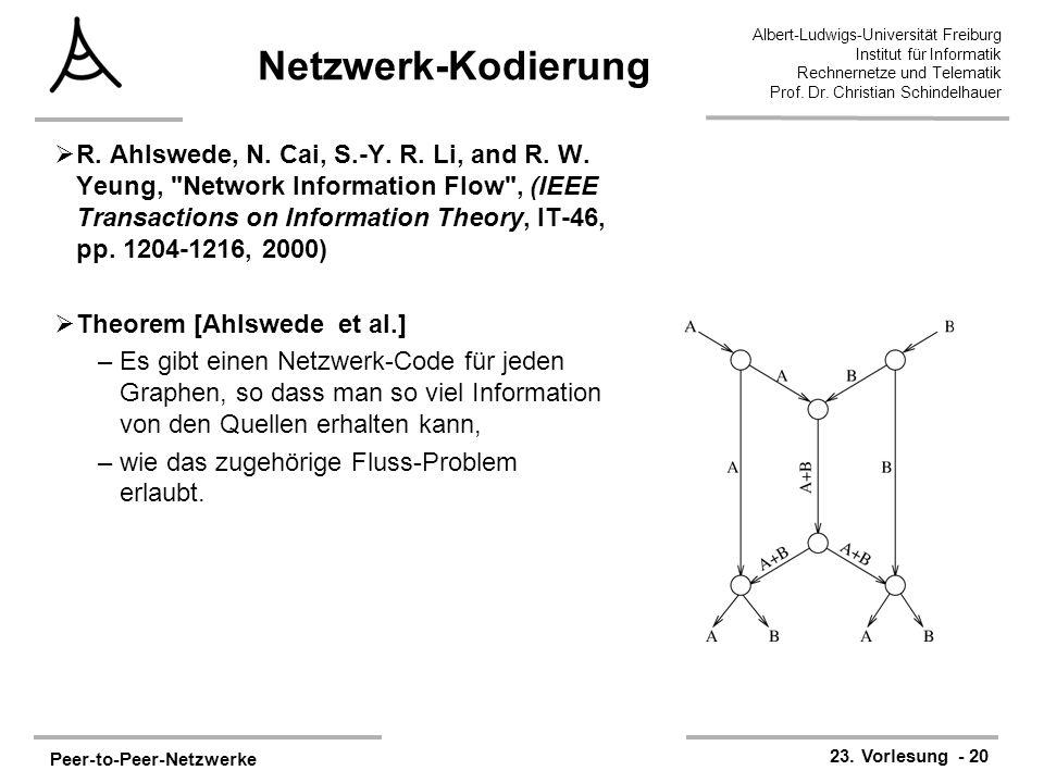 Peer-to-Peer-Netzwerke 23. Vorlesung - 20 Albert-Ludwigs-Universität Freiburg Institut für Informatik Rechnernetze und Telematik Prof. Dr. Christian S