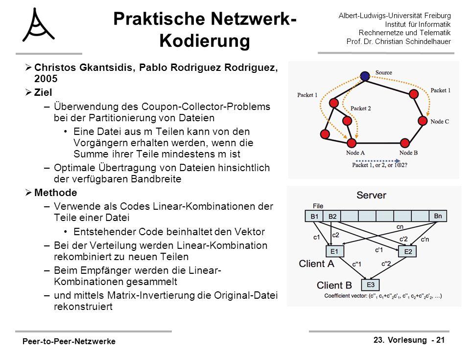 Peer-to-Peer-Netzwerke 23. Vorlesung - 21 Albert-Ludwigs-Universität Freiburg Institut für Informatik Rechnernetze und Telematik Prof. Dr. Christian S