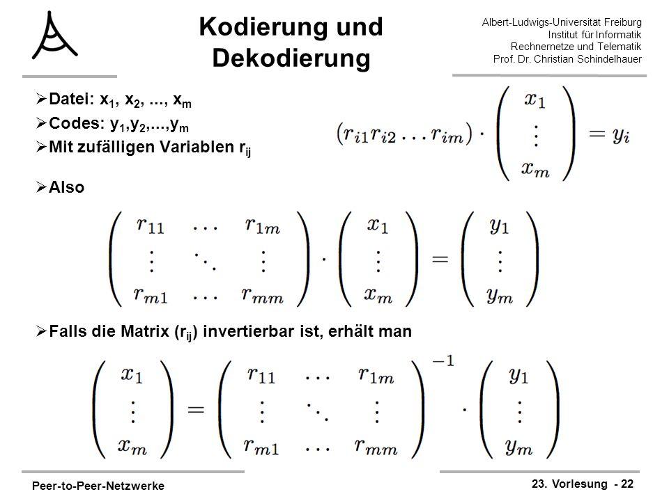 Peer-to-Peer-Netzwerke 23. Vorlesung - 22 Albert-Ludwigs-Universität Freiburg Institut für Informatik Rechnernetze und Telematik Prof. Dr. Christian S