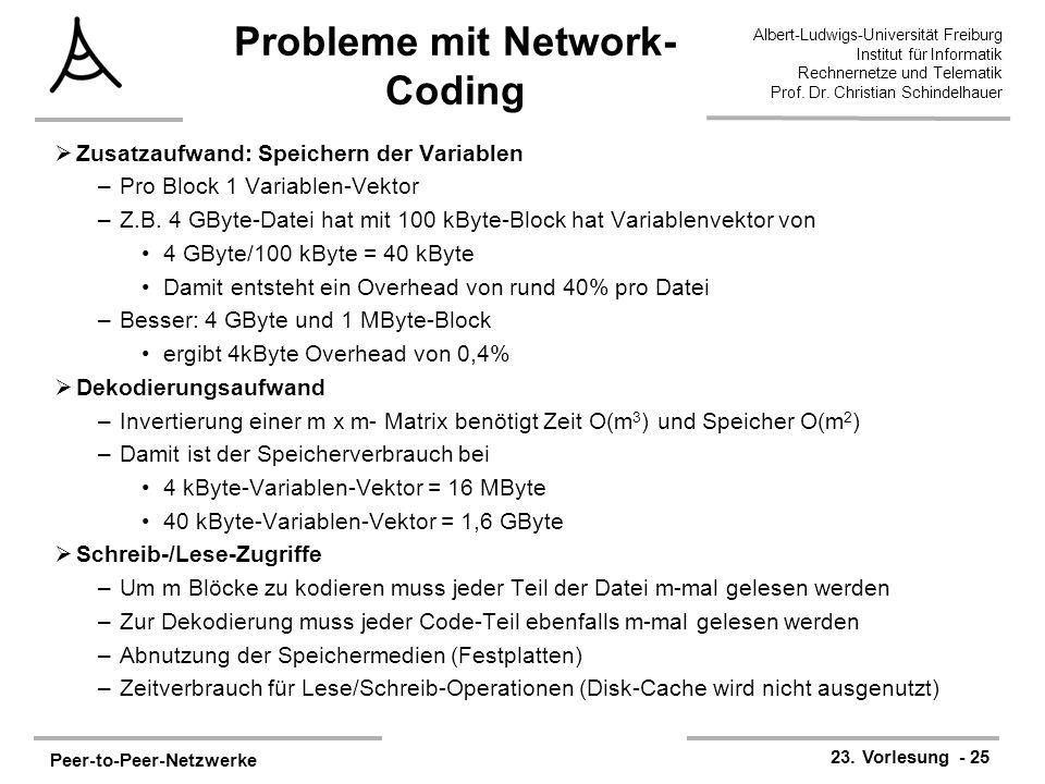 Peer-to-Peer-Netzwerke 23. Vorlesung - 25 Albert-Ludwigs-Universität Freiburg Institut für Informatik Rechnernetze und Telematik Prof. Dr. Christian S
