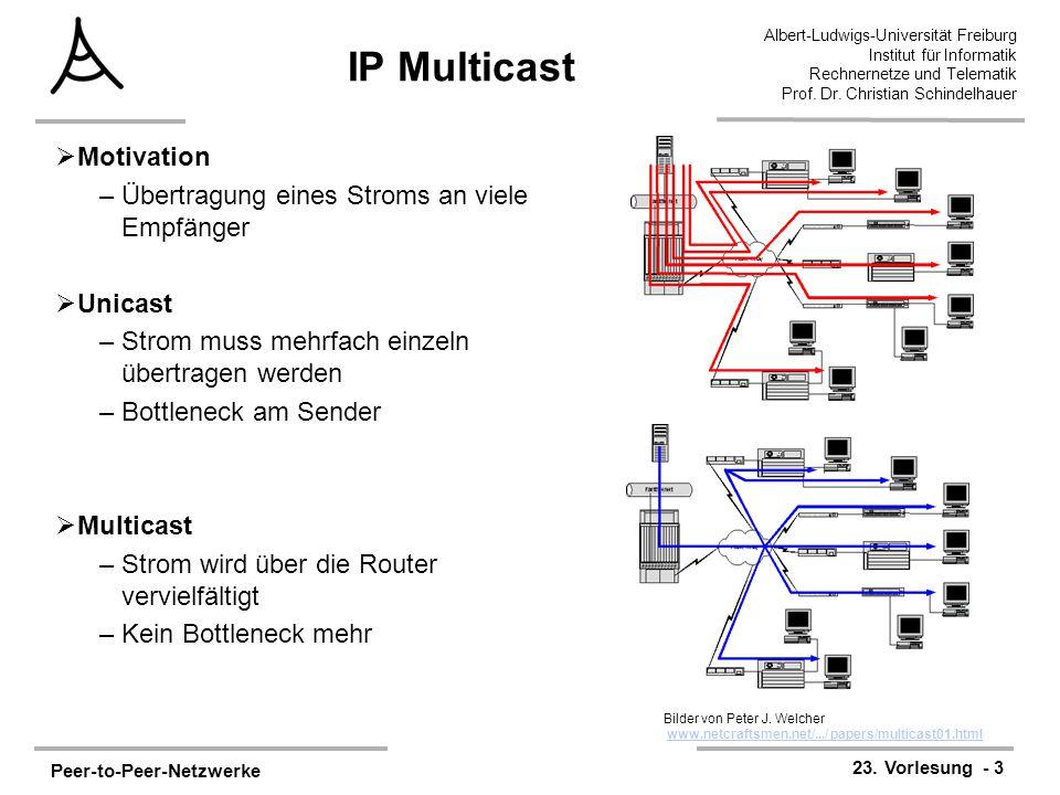 Peer-to-Peer-Netzwerke 23. Vorlesung - 3 Albert-Ludwigs-Universität Freiburg Institut für Informatik Rechnernetze und Telematik Prof. Dr. Christian Sc