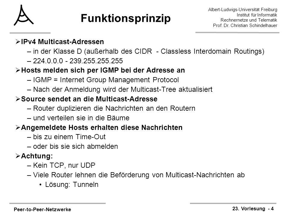 Peer-to-Peer-Netzwerke 23. Vorlesung - 4 Albert-Ludwigs-Universität Freiburg Institut für Informatik Rechnernetze und Telematik Prof. Dr. Christian Sc