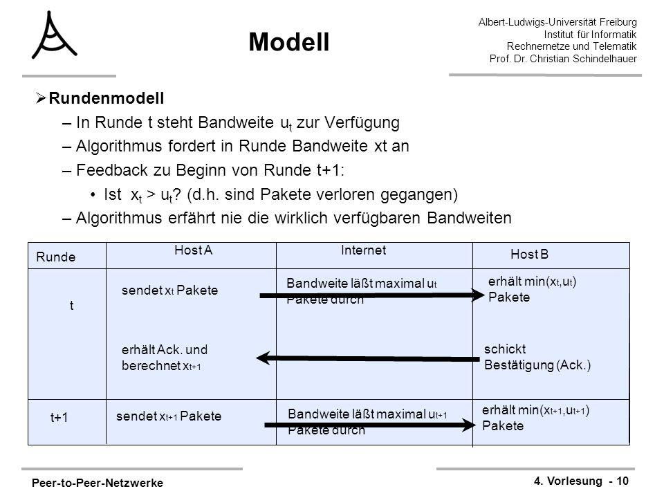 Peer-to-Peer-Netzwerke 4. Vorlesung - 10 Albert-Ludwigs-Universität Freiburg Institut für Informatik Rechnernetze und Telematik Prof. Dr. Christian Sc