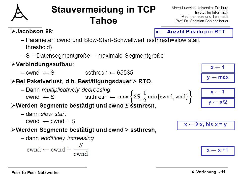 Peer-to-Peer-Netzwerke 4. Vorlesung - 11 Albert-Ludwigs-Universität Freiburg Institut für Informatik Rechnernetze und Telematik Prof. Dr. Christian Sc