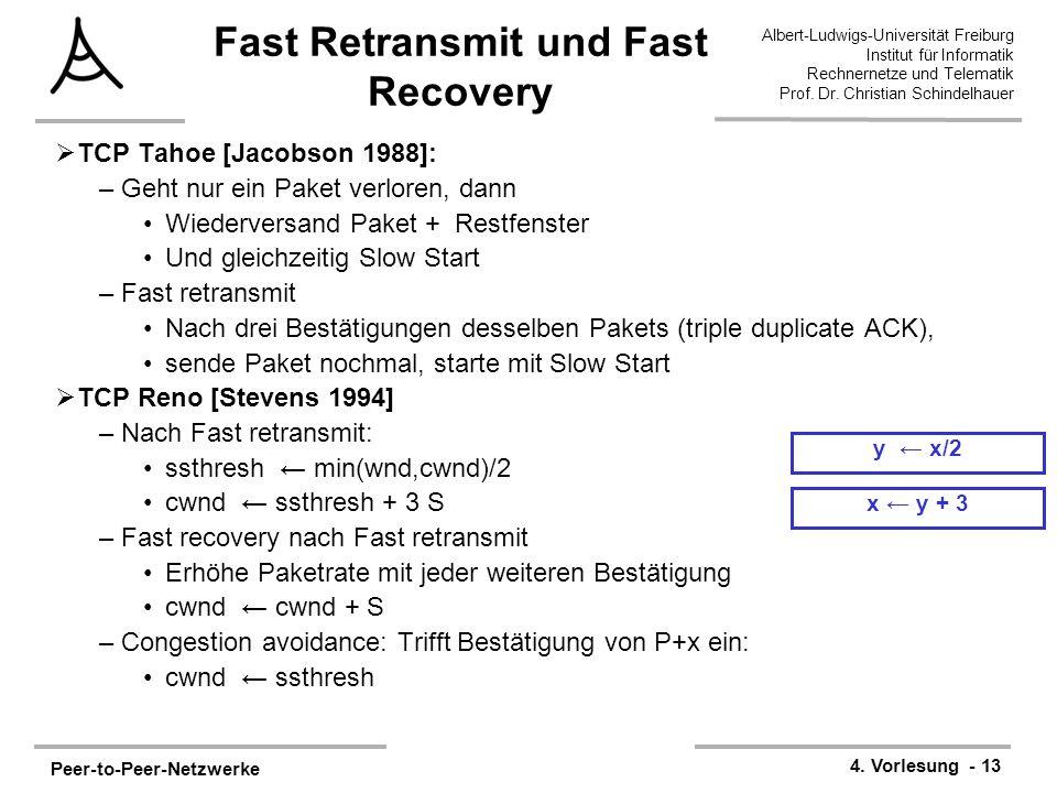 Peer-to-Peer-Netzwerke 4. Vorlesung - 13 Albert-Ludwigs-Universität Freiburg Institut für Informatik Rechnernetze und Telematik Prof. Dr. Christian Sc