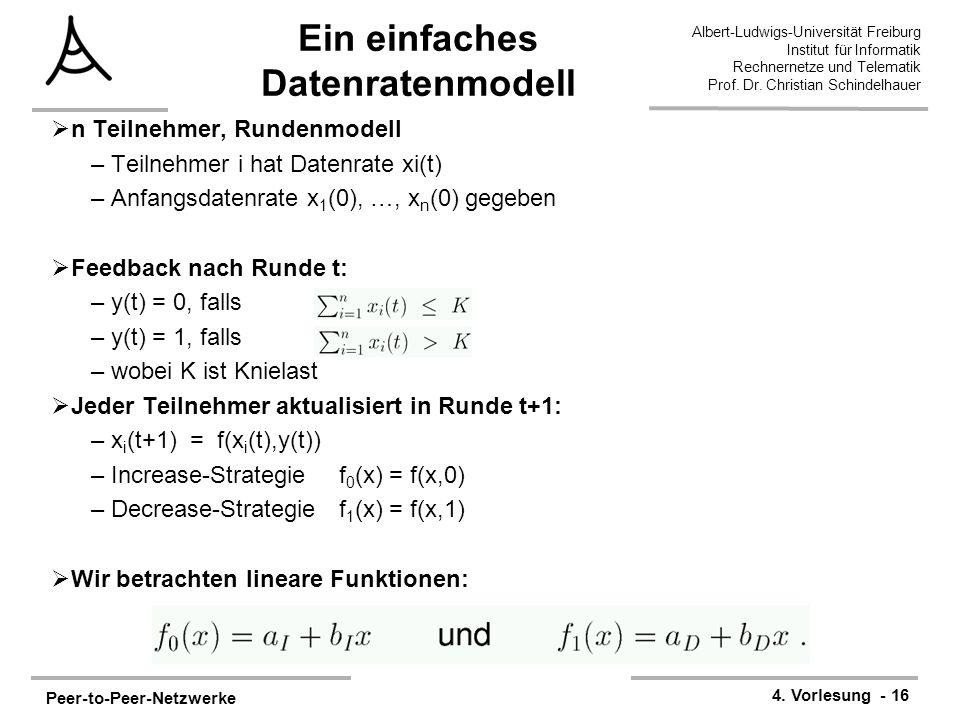 Peer-to-Peer-Netzwerke 4. Vorlesung - 16 Albert-Ludwigs-Universität Freiburg Institut für Informatik Rechnernetze und Telematik Prof. Dr. Christian Sc