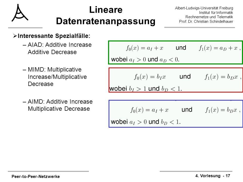 Peer-to-Peer-Netzwerke 4. Vorlesung - 17 Albert-Ludwigs-Universität Freiburg Institut für Informatik Rechnernetze und Telematik Prof. Dr. Christian Sc