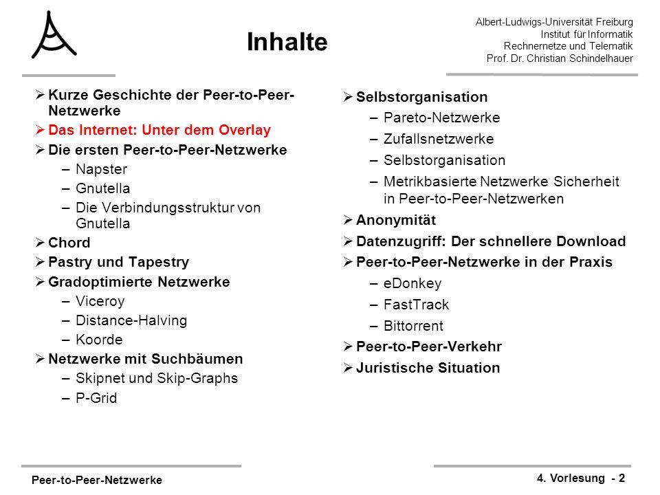 Peer-to-Peer-Netzwerke 4. Vorlesung - 2 Albert-Ludwigs-Universität Freiburg Institut für Informatik Rechnernetze und Telematik Prof. Dr. Christian Sch