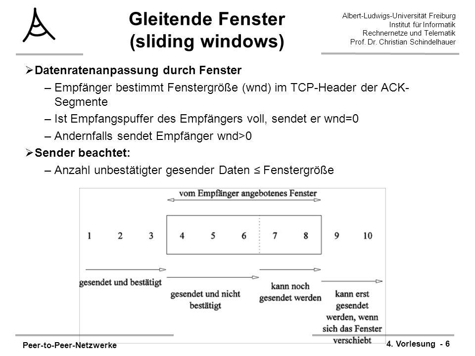 Peer-to-Peer-Netzwerke 4. Vorlesung - 6 Albert-Ludwigs-Universität Freiburg Institut für Informatik Rechnernetze und Telematik Prof. Dr. Christian Sch