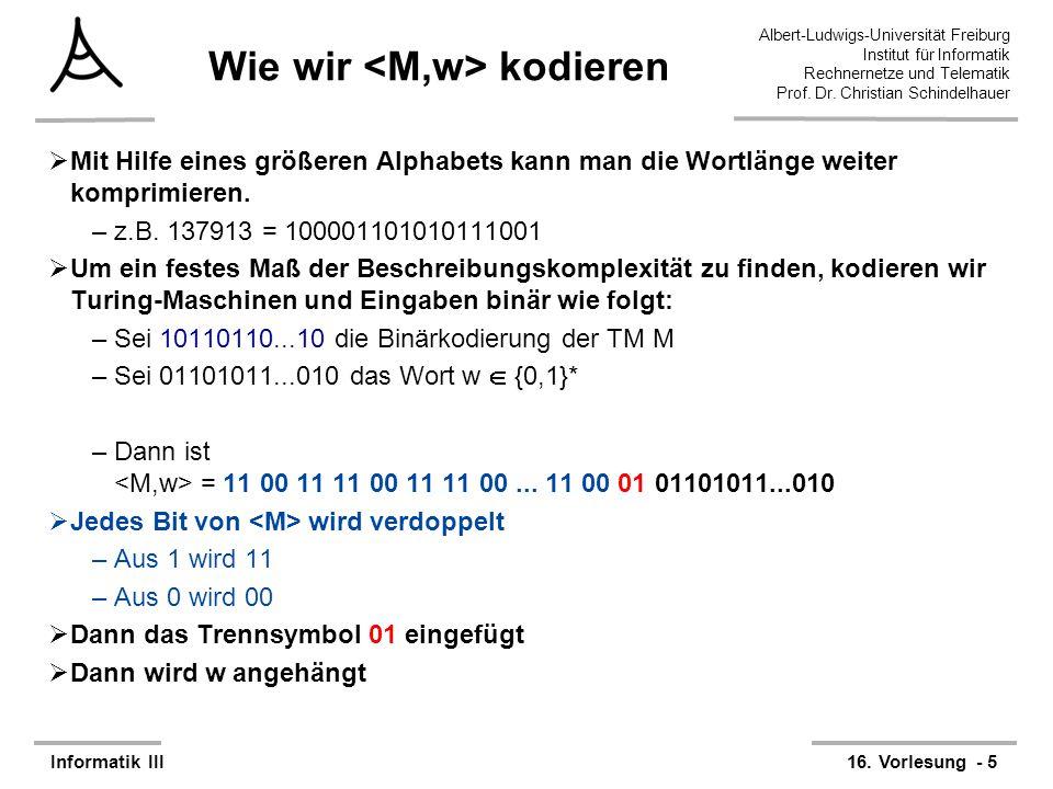 Albert-Ludwigs-Universität Freiburg Institut für Informatik Rechnernetze und Telematik Prof. Dr. Christian Schindelhauer Informatik III16. Vorlesung -