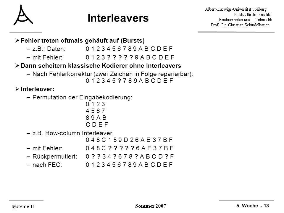 5. Woche - 13 Interleavers  Fehler treten oftmals gehäuft auf (Bursts) –z.B.: Daten: 0 1 2 3 4 5 6 7 8 9 A B C D E F –mit Fehler: 0 1 2 3 ? ? ? ? ? 9