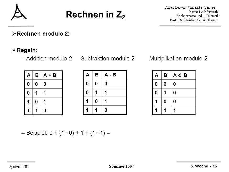 5. Woche - 16 Rechnen in Z 2  Rechnen modulo 2:  Regeln: –Addition modulo 2 Subtraktion modulo 2Multiplikation modulo 2 –Beispiel: 0 + (1  0) + 1 +