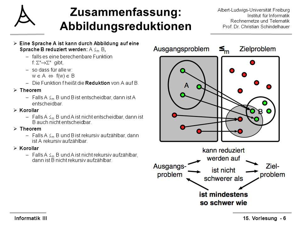 Albert-Ludwigs-Universität Freiburg Institut für Informatik Rechnernetze und Telematik Prof. Dr. Christian Schindelhauer Informatik III15. Vorlesung -