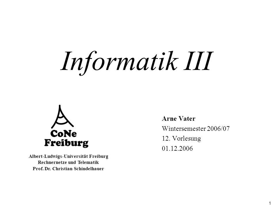 1 Albert-Ludwigs-Universität Freiburg Rechnernetze und Telematik Prof. Dr. Christian Schindelhauer Informatik III Arne Vater Wintersemester 2006/07 12