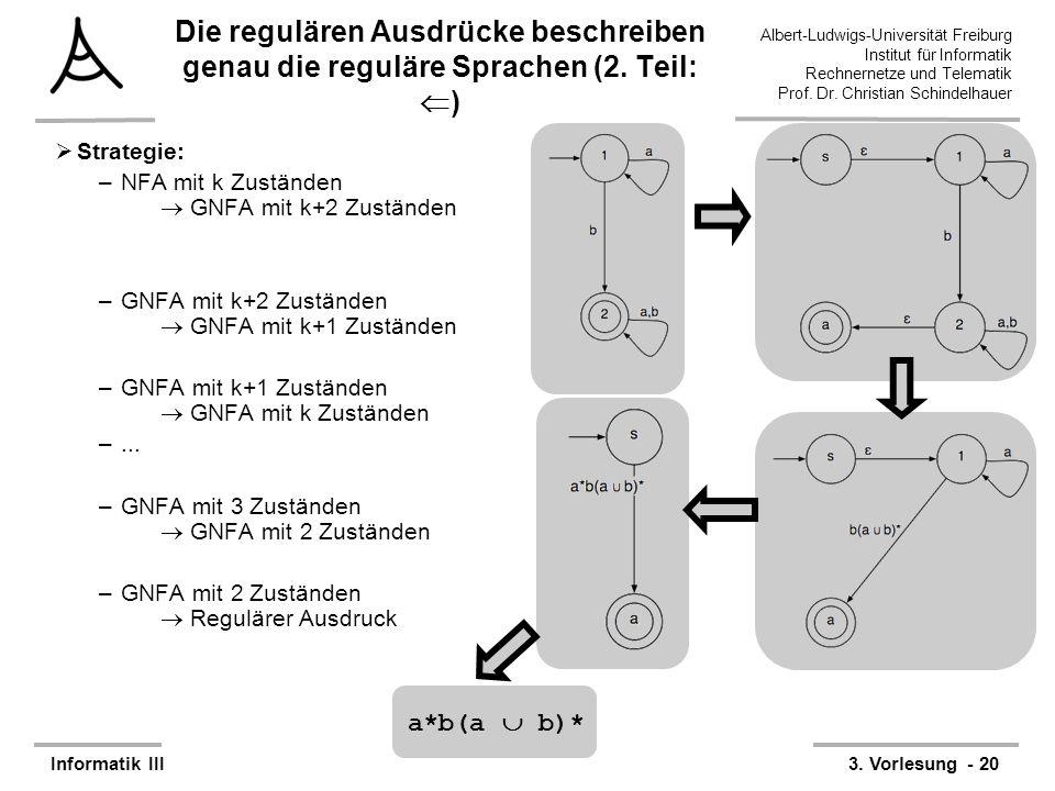 Albert-Ludwigs-Universität Freiburg Institut für Informatik Rechnernetze und Telematik Prof. Dr. Christian Schindelhauer Informatik III3. Vorlesung -