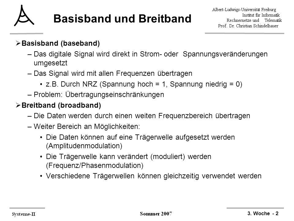 3. Woche - 2 Basisband und Breitband  Basisband (baseband) –Das digitale Signal wird direkt in Strom- oder Spannungsveränderungen umgesetzt –Das Sign