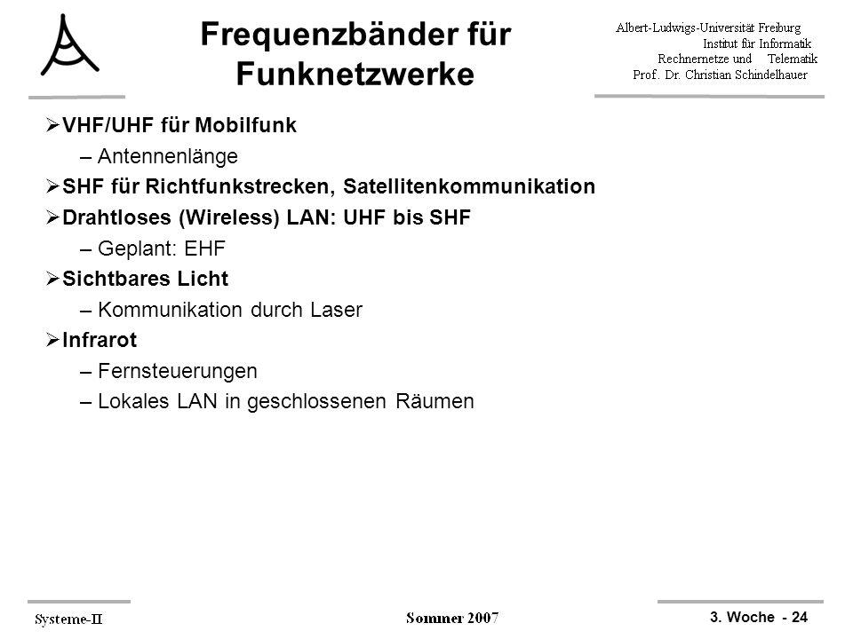 3. Woche - 24 Frequenzbänder für Funknetzwerke  VHF/UHF für Mobilfunk –Antennenlänge  SHF für Richtfunkstrecken, Satellitenkommunikation  Drahtlose