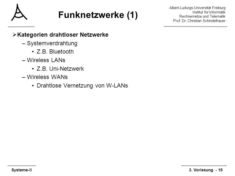 Albert-Ludwigs-Universität Freiburg Institut für Informatik Rechnernetze und Telematik Prof. Dr. Christian Schindelhauer Systeme-II3. Vorlesung - 15 F