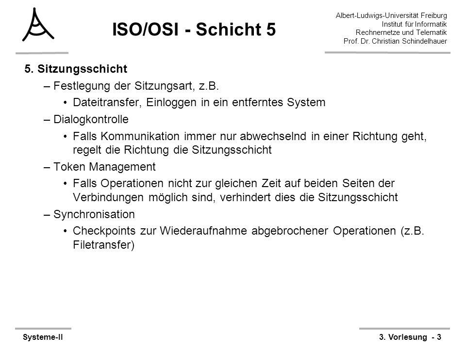 Albert-Ludwigs-Universität Freiburg Institut für Informatik Rechnernetze und Telematik Prof. Dr. Christian Schindelhauer Systeme-II3. Vorlesung - 3 IS