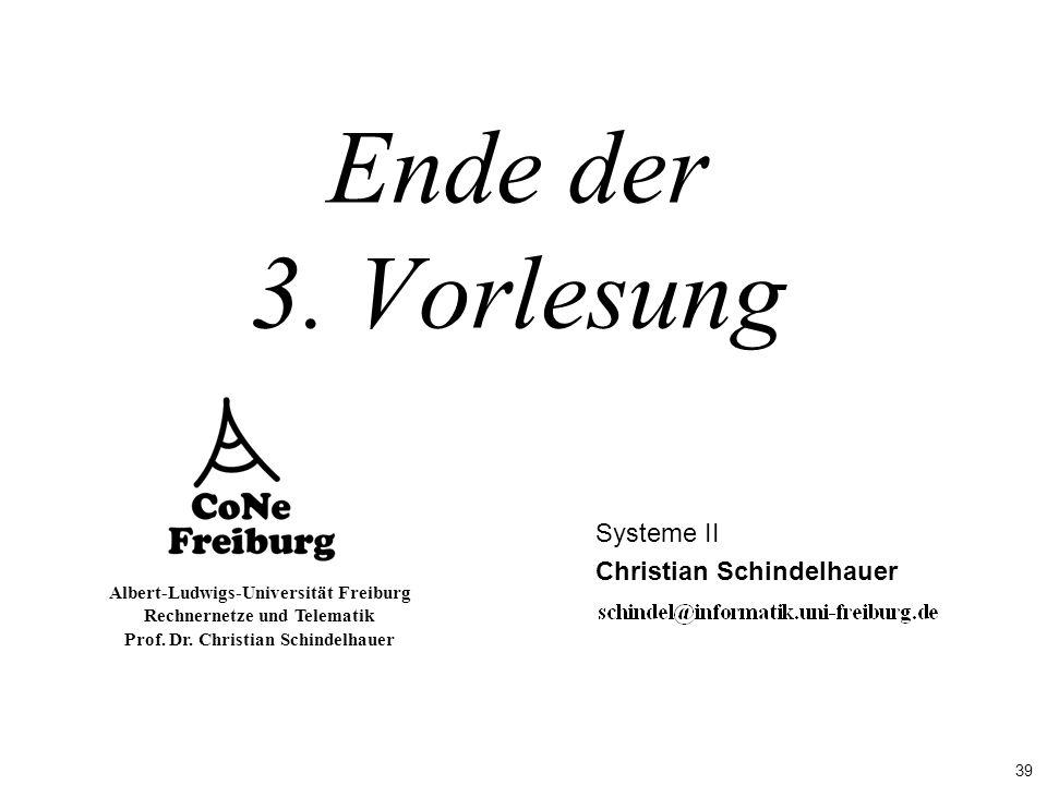 39 Albert-Ludwigs-Universität Freiburg Rechnernetze und Telematik Prof. Dr. Christian Schindelhauer Ende der 3. Vorlesung Systeme II Christian Schinde
