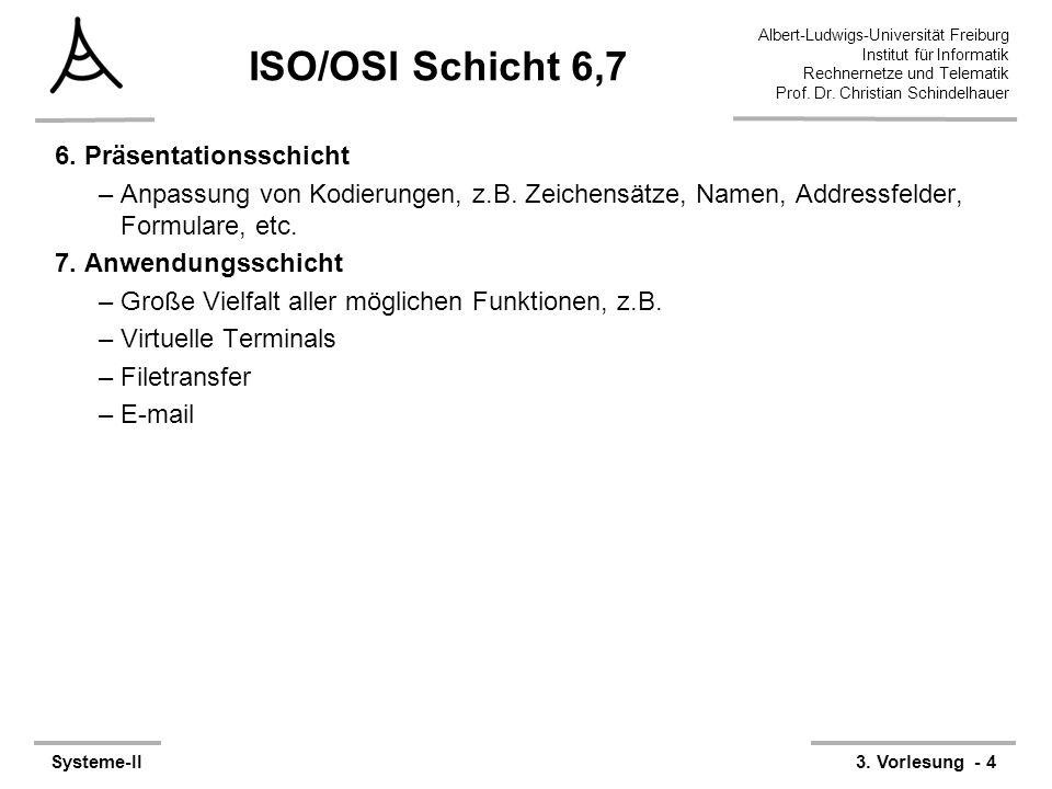 Albert-Ludwigs-Universität Freiburg Institut für Informatik Rechnernetze und Telematik Prof. Dr. Christian Schindelhauer Systeme-II3. Vorlesung - 4 IS