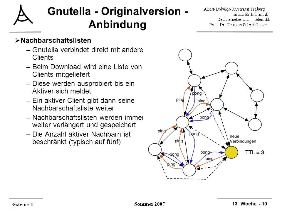 13. Woche - 10 Gnutella - Originalversion - Anbindung  Nachbarschaftslisten –Gnutella verbindet direkt mit anderen Clients –Beim Download wird eine L