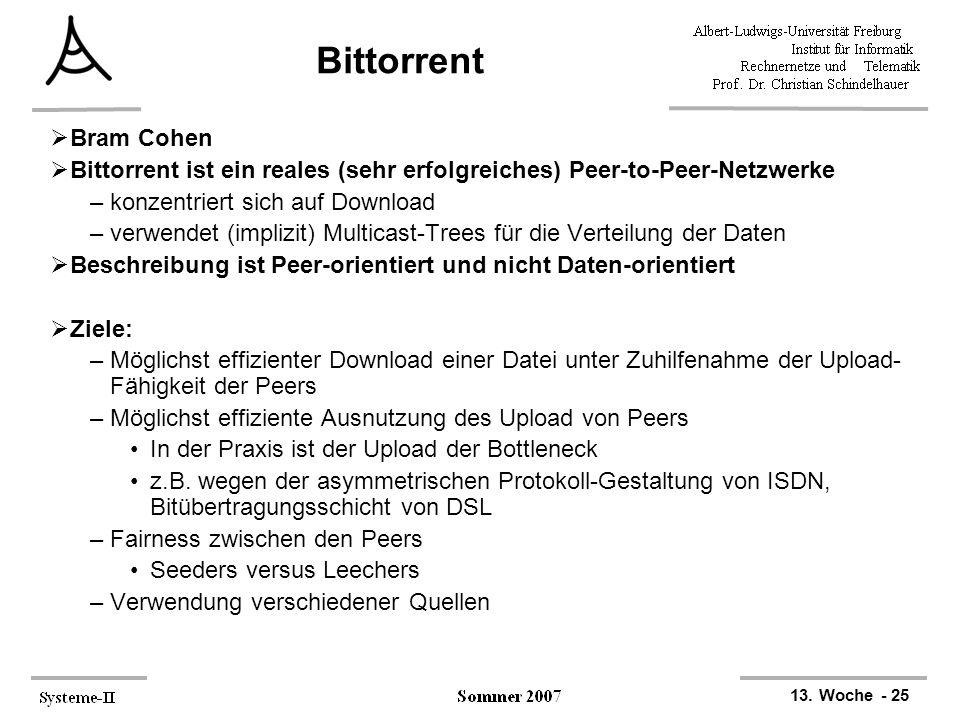 13. Woche - 25 Bittorrent  Bram Cohen  Bittorrent ist ein reales (sehr erfolgreiches) Peer-to-Peer-Netzwerke –konzentriert sich auf Download –verwen