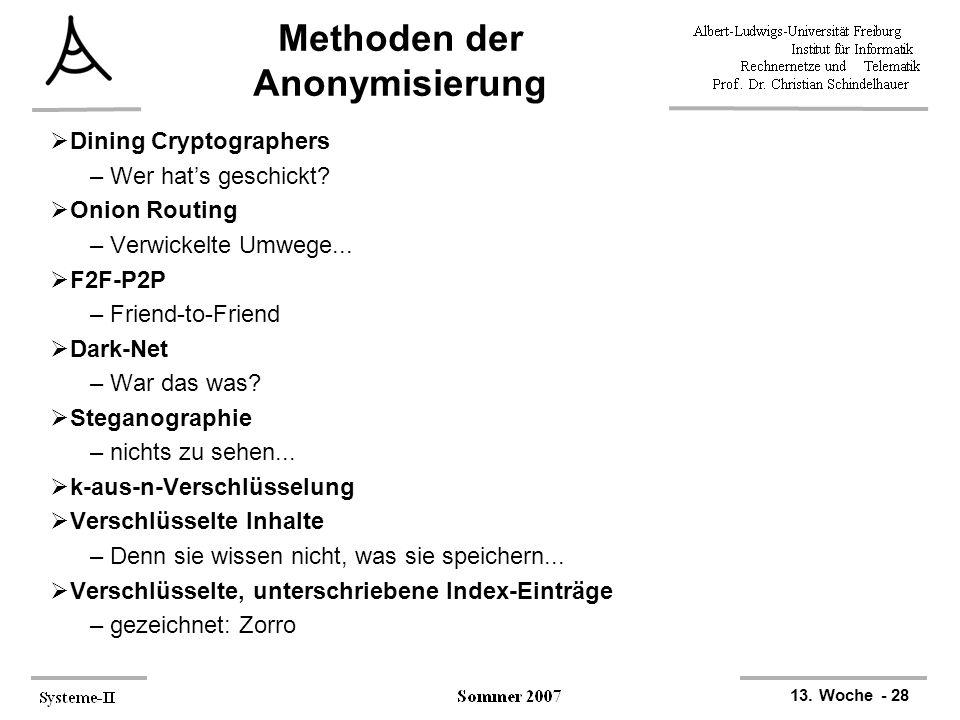 13. Woche - 28 Methoden der Anonymisierung  Dining Cryptographers –Wer hat's geschickt?  Onion Routing –Verwickelte Umwege...  F2F-P2P –Friend-to-F