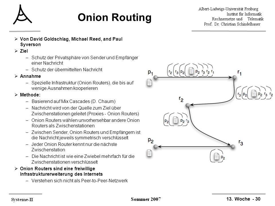13. Woche - 30 Onion Routing  Von David Goldschlag, Michael Reed, and Paul Syverson  Ziel –Schutz der Privatsphäre von Sender und Empfänger einer Na
