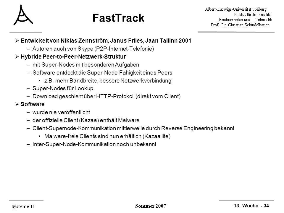 13. Woche - 34 FastTrack  Entwickelt von Niklas Zennström, Janus Friies, Jaan Tallinn 2001 –Autoren auch von Skype (P2P-Internet-Telefonie)  Hybride