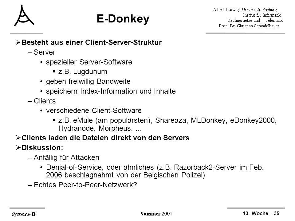 13. Woche - 35 E-Donkey  Besteht aus einer Client-Server-Struktur –Server spezieller Server-Software  z.B. Lugdunum geben freiwillig Bandweite speic