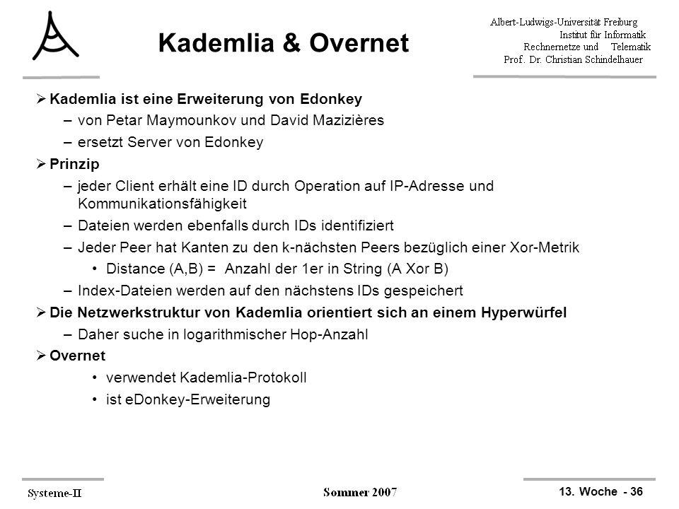 13. Woche - 36 Kademlia & Overnet  Kademlia ist eine Erweiterung von Edonkey –von Petar Maymounkov und David Mazizières –ersetzt Server von Edonkey 