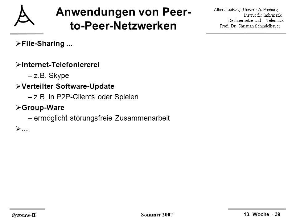 13. Woche - 39 Anwendungen von Peer- to-Peer-Netzwerken  File-Sharing...  Internet-Telefoniererei –z.B. Skype  Verteilter Software-Update –z.B. in
