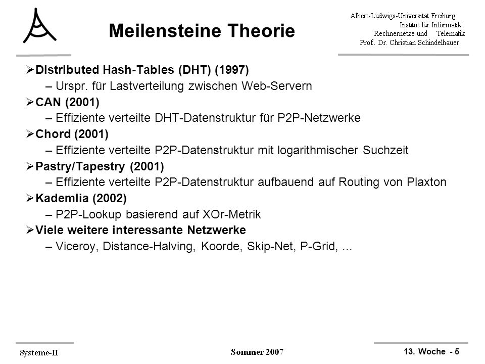 13. Woche - 5 Meilensteine Theorie  Distributed Hash-Tables (DHT) (1997) –Urspr.
