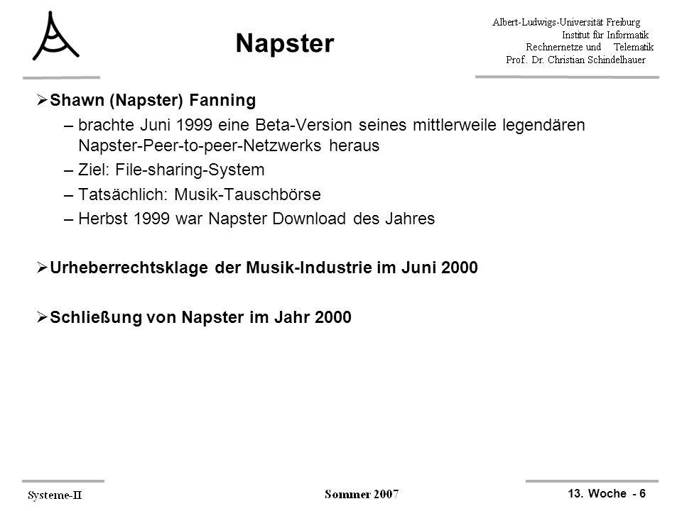 13. Woche - 6 Napster  Shawn (Napster) Fanning –brachte Juni 1999 eine Beta-Version seines mittlerweile legendären Napster-Peer-to-peer-Netzwerks her