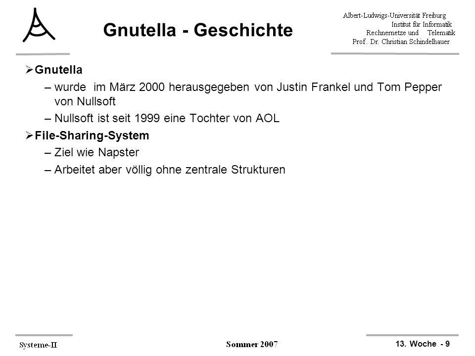 13. Woche - 9 Gnutella - Geschichte  Gnutella –wurde im März 2000 herausgegeben von Justin Frankel und Tom Pepper von Nullsoft –Nullsoft ist seit 199
