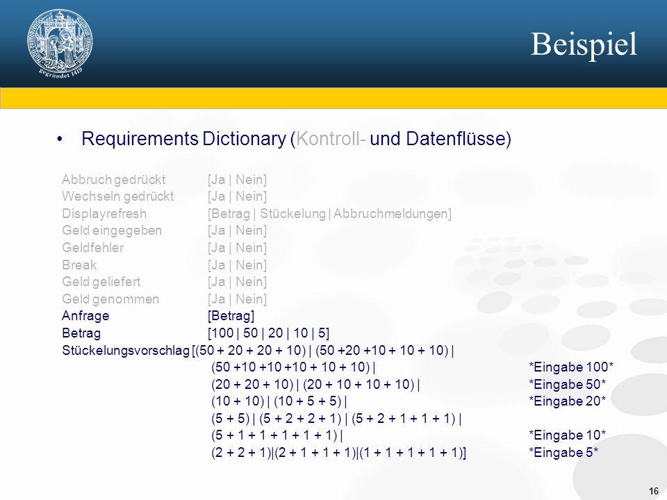 16 Beispiel Requirements Dictionary (Kontroll- und Datenflüsse) Abbruch gedrückt [Ja | Nein] Wechseln gedrückt[Ja | Nein] Displayrefresh[Betrag | Stüc