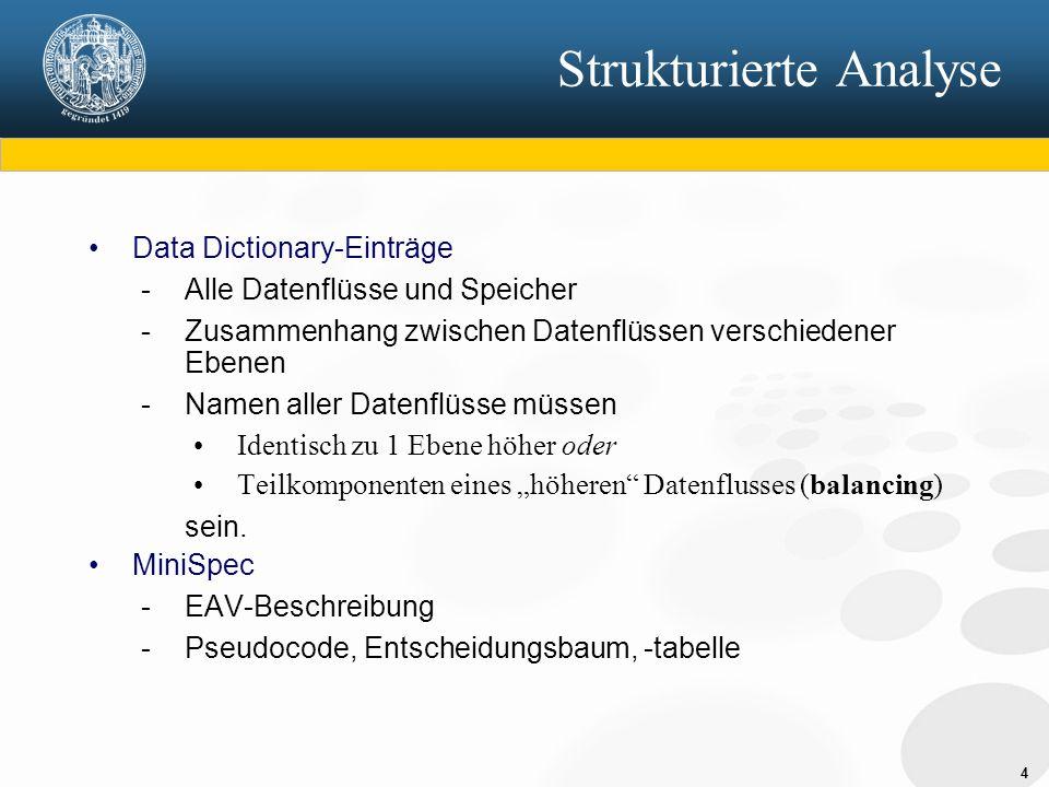 4 Strukturierte Analyse Data Dictionary-Einträge - Alle Datenflüsse und Speicher - Zusammenhang zwischen Datenflüssen verschiedener Ebenen - Namen all
