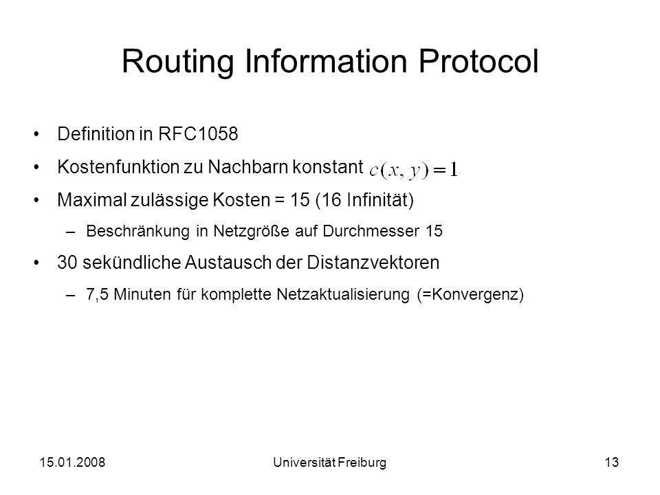 Routing Information Protocol Definition in RFC1058 Kostenfunktion zu Nachbarn konstant Maximal zulässige Kosten = 15 (16 Infinität) –Beschränkung in N