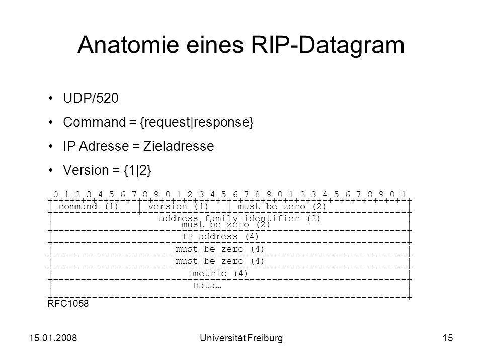 Anatomie eines RIP-Datagram UDP/520 Command = {request|response} IP Adresse = Zieladresse Version = {1|2} 15.01.200815Universität Freiburg 0 1 2 3 4 5