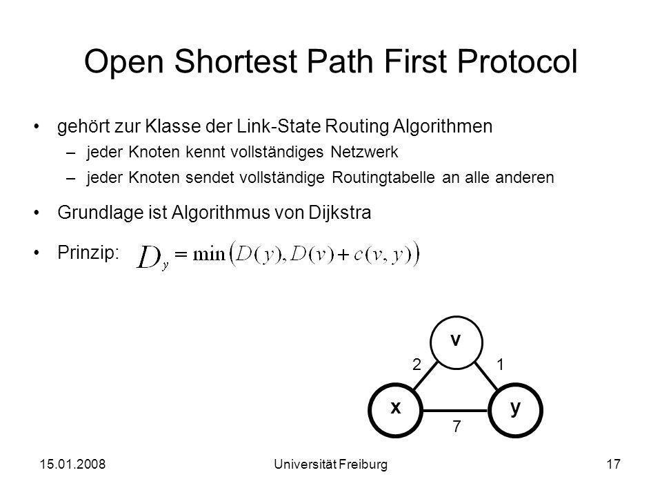 Open Shortest Path First Protocol gehört zur Klasse der Link-State Routing Algorithmen –jeder Knoten kennt vollständiges Netzwerk –jeder Knoten sendet