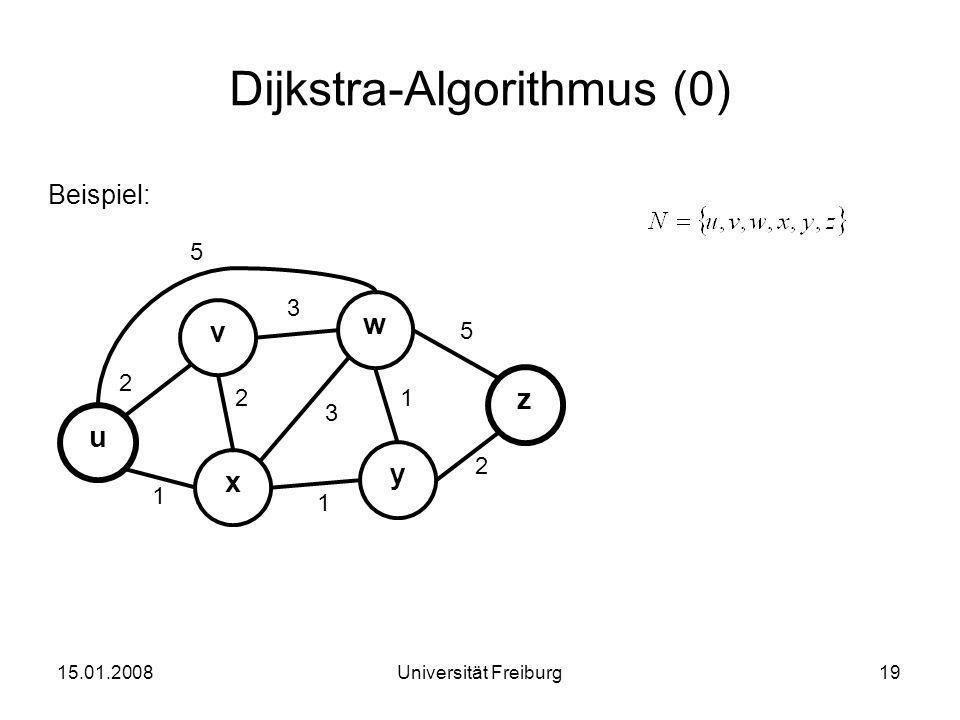 Dijkstra-Algorithmus (0) Beispiel: 15.01.200819Universität Freiburg u x v 3 2 1 y w z 2 3 1 2 1 5 5