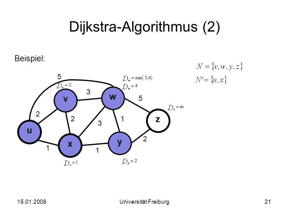 Dijkstra-Algorithmus (2) Beispiel: 15.01.200821Universität Freiburg u x v 3 2 1 y w z 2 3 1 2 1 5 5