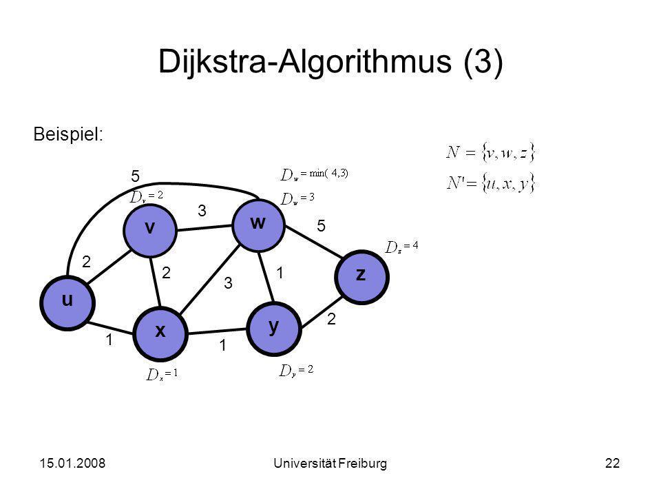 Dijkstra-Algorithmus (3) Beispiel: 15.01.200822Universität Freiburg u x v 3 2 1 y w z 2 3 1 2 1 5 5